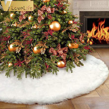 "White Plush Christmas Tree Skirt Aprons Christmas Tree Carpet Christmas Decorations for Home New Year Xmas Decor 31""/36""/48""(China)"