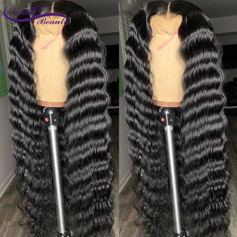 Lace Front Human Hair Wigs Pre Plucked For Women Brazilian Deep Wave 13x6 Lace Frontal Wig With Baby Hair Remy Wigs Dream Beauty