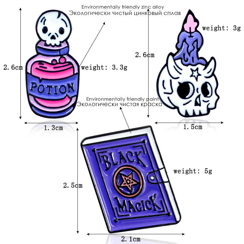 664d2d84ec9 ... Fashion Cartoon BLACK MAGLCK POTION Bottle Skull Candle Holder Enamel  Metal Brooch Dress Bag Personality Badge ...
