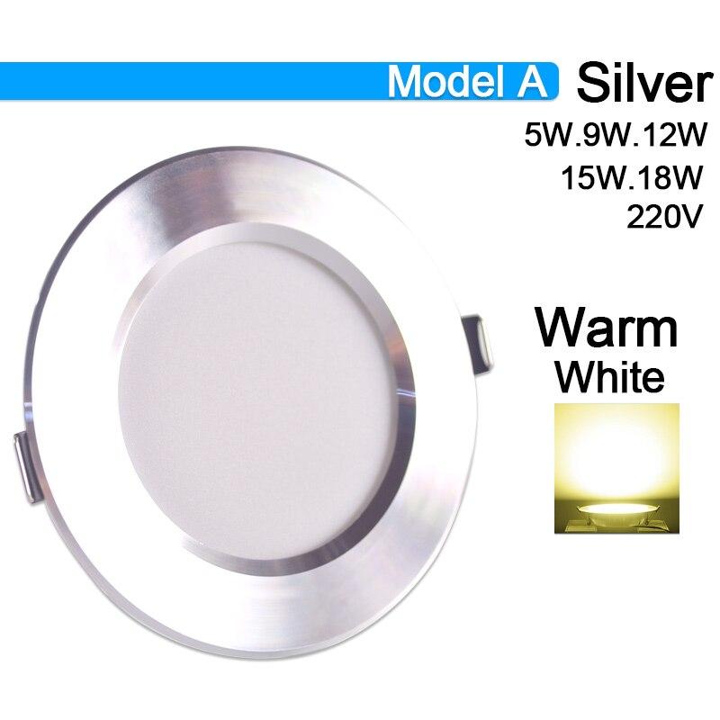 Потолочный светильник 3 Вт 5 Вт 9 Вт 12 Вт 15 Вт 18 Вт точечный светодиодный светильник AC 220 В золотистый, серебристый, белый ультратонкий алюминиевый круглый встраиваемый Светодиодный точечный светильник - Испускаемый цвет: Model A Warm White