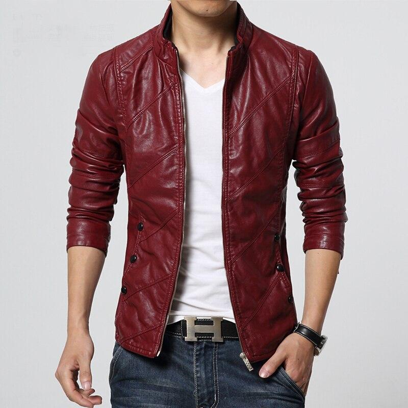 Big Size Pu Leather Biker Jacket Male Slim Fit Zipper Up Motorcycle Red Leather Jacket Men Plus Size 5XL 6XL