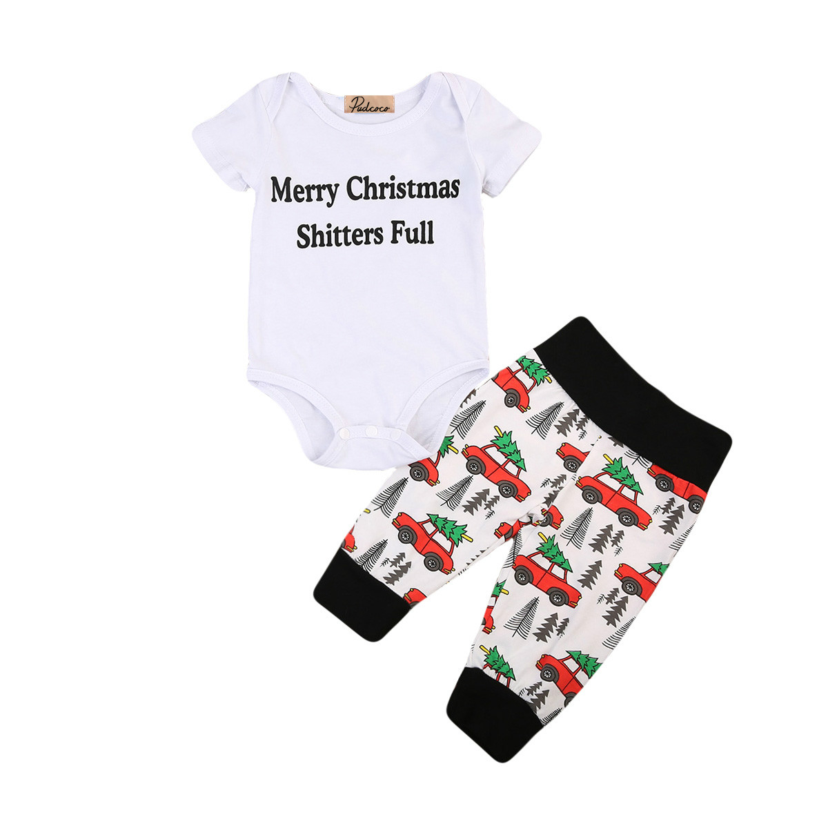 2PCS Baby Christmas Outfits Clothes Newborn Baby Boys Girls Cotton Rompers Car Print Pants Xmas Outfits Children Clothing Set