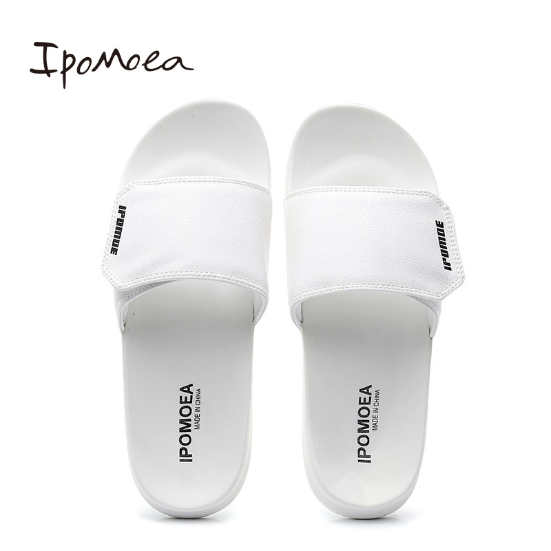 Men Indoor Outside Slippers PU Leather Mens Summer Casual Shoes Soft Bottom Non-slip Male Beach Sandals Fashion Slides SH042502