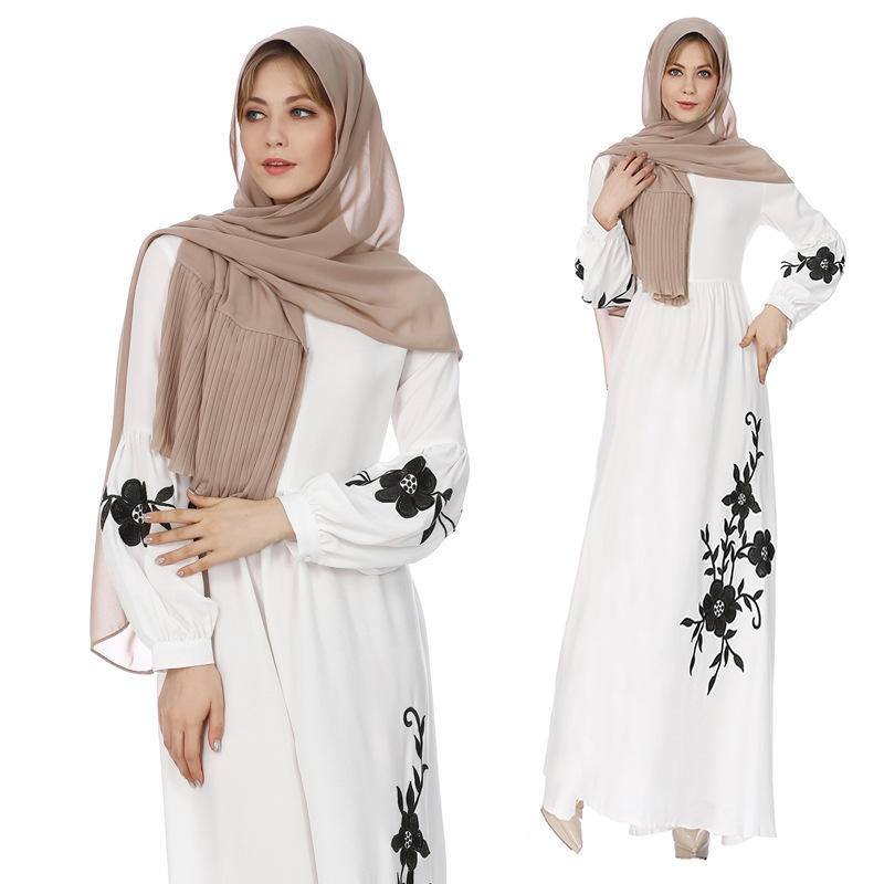 2018 Women Hot Muslims Robe Loose Long Sleeve Large Size Embroidery Chiffon Dresses  Middle East Women Abaya Without Scarf