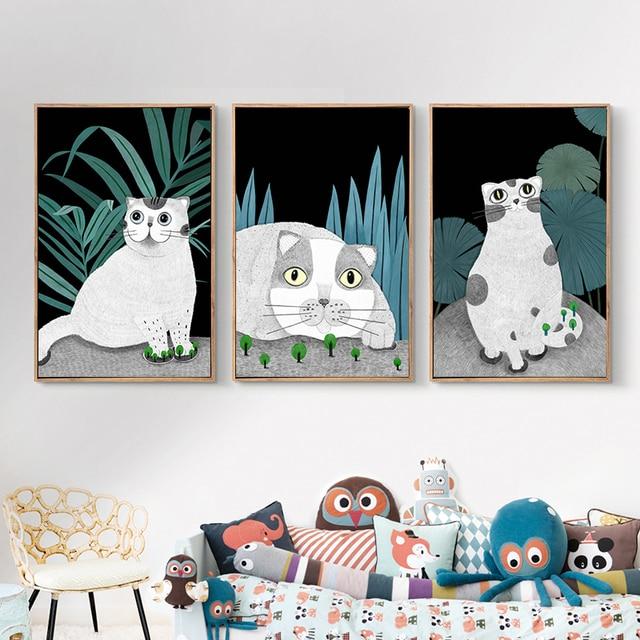 Cartoon Animals Lovely Cat Kids Decoration Painting Canvas 2