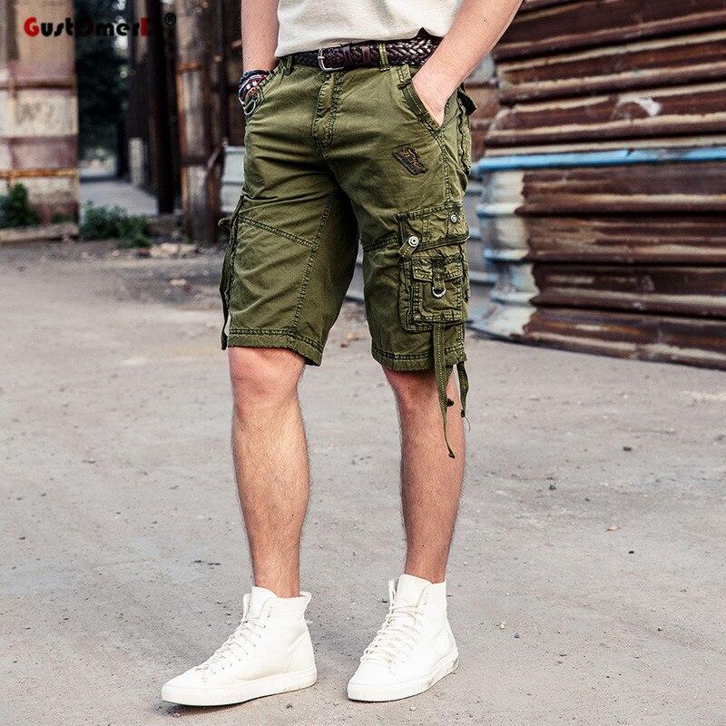 GustOmerD New Summer Casual Shorts Men Cotton Multi-pocket Tactical Cargo Shorts Men Beach Short Pants Quality Brand Clothing