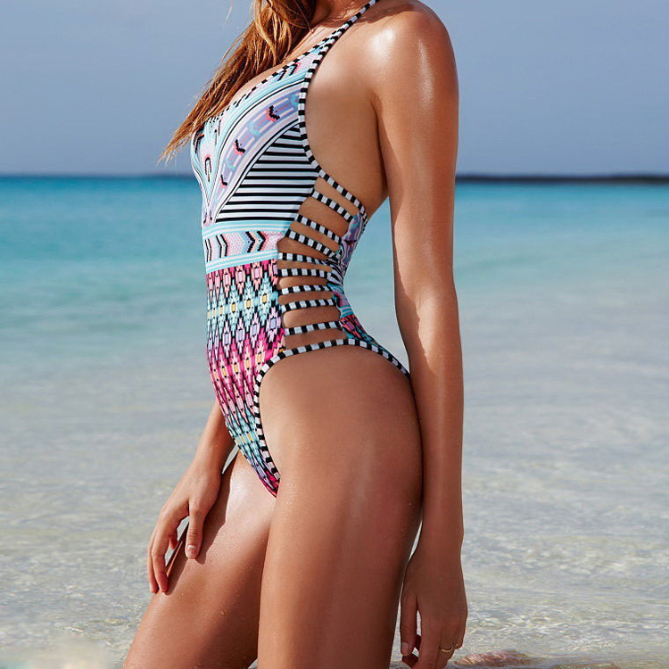 Brazilian 2017 Sexy One Piece Halter Swimsuit Bathing Suit Striped Bandage Thick Padded Swimwear For Women Bikini Set Beachwear  new 2016 sexy strappy vertical striped one piece swimsuit women push up halter strapless swimwear bandage beachwear bathing suit