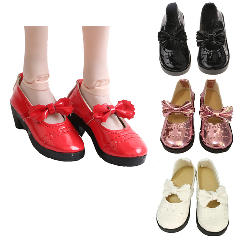 Doll Accessories Mini Cute Shoes 1/3 BJD Lolita Chunky Heel Bowknot Shoes 8cm PU Leather for 1/3 BJD 60CM SD Doll Shoes for Girl Pakistan