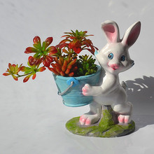 Easter flower vase resin succulent cute sleeping animal for back school students planter Pot Trays Rabbit Garden Pots& Planters(China)