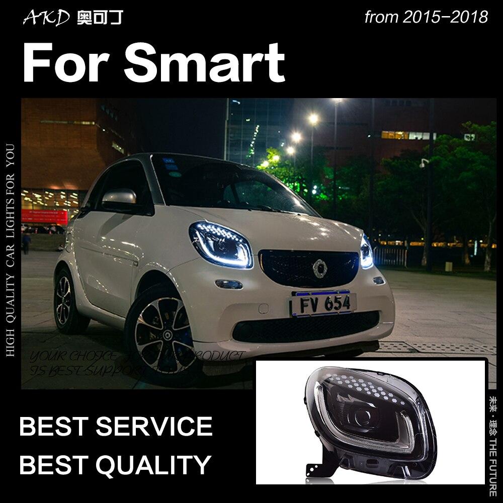 AKD Car Styling Cabeça Lâmpada para Faróis 2015-2018 Smart for Two Inteligente LEVOU Farol LEVOU DRL Hid Bi xenon Auto Acessórios