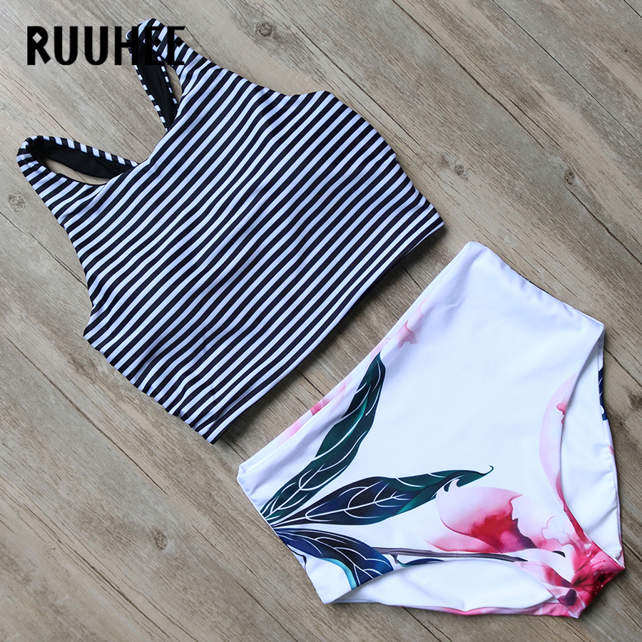 RUUHEE Bikini Swimwear Women 2017 High Waist Swimsuit Bikini Set Push Up Bathing Suit Beachwear Maillot De Bain Femme Biquini high waist swimsuit women bikinis 2016 floral push up bikini high waisted bathing suits vintage high waist swimwear swimsuit
