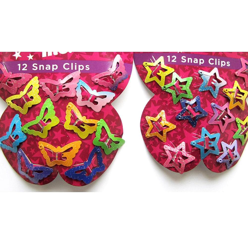 Hot 12PCS Mix Color Barrette Baby Hair Clip Cute Star Butterfly Shape Handmade Alloy Children Hairpin Girl Hair Clip Accessories