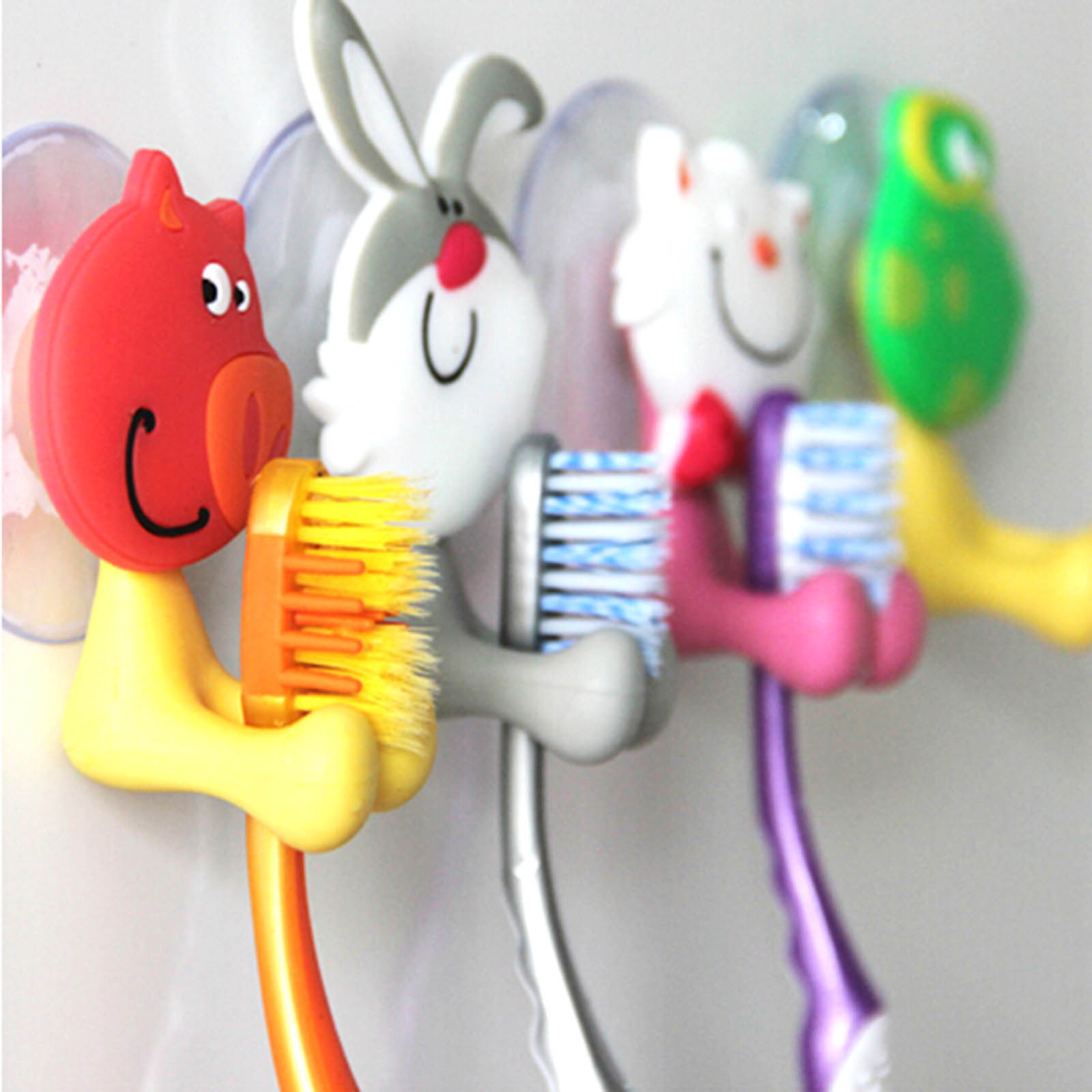 Cute Novelty Design Silicone Toothbrush Holder Home Bathroom Kitchen Wall Hanger Cartoon Animal Brush Holder With Suction Cup image