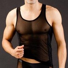 Men Mesh New Nylon silk Sexy Transparent Vest Breathable Sport Tank Top Lounge wear Mens Vests Fitness