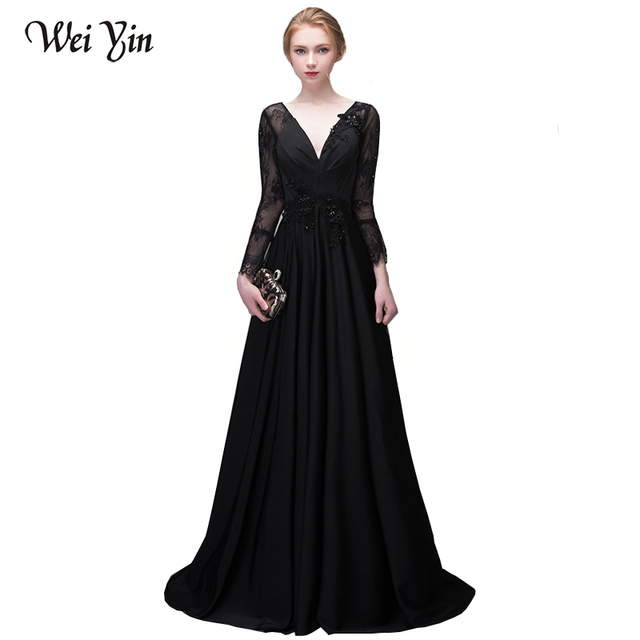 842e2f378db WEIYIN Gorgeous Long Sleeve Black Long Evening Dresses Sexy Deep V-Neck Lace  Sequin Amazing Chapel Train Formal Long Prom Gown