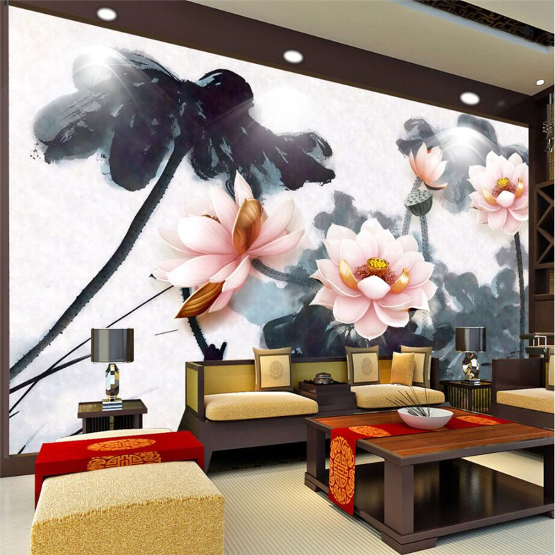 beibehang Custom 3d 3d Wallpaper 3D Stereo Embossed Lotus New Chinese Ink Fish Wallpaper Wall Decorative massager ergonomic design body self back hook massage stick muscle deep pressure original point body relaxation hot new