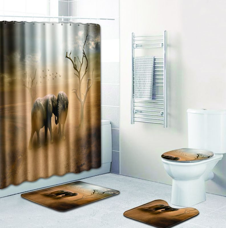 3D Toilet Seat Cover Set Mat Bathroom Lid Foot Pad  Elephant Rug Flannel Funny