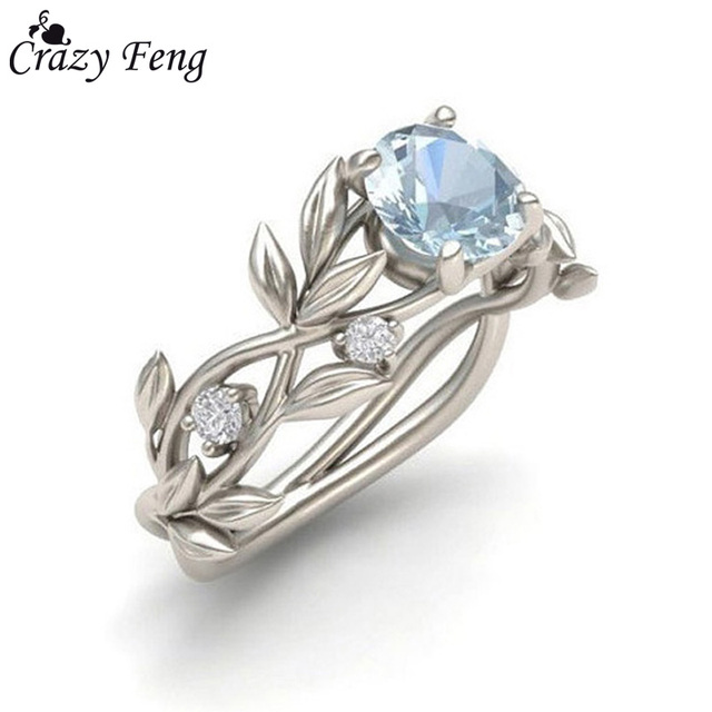 Crazy Feng Brand Bridal Party Rings Accessories Silver Anel With Clear Blue Zirc
