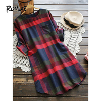 ROMWE Multicolor Checked Mini Dress Woman Casual Plaid Rolled Long Sleeve Dresses Fall 2017 Fashion New