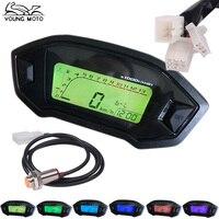 YOUNG MOTO 1PCS 12V Universal Black Motorcycle LCD Digital Speedometer Odometer Tachometer KMH Gauge Backlight 1