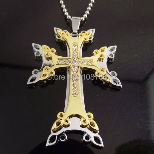 10pcs Free shipping Stainless Steel Chain Double Gold Cross Pendant Crystal Necklace Men Man Alloy Necklace