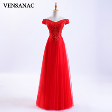 VENSANAC 2018 Sequined V Neck Beading Short Sleeve Long Evening Dresses Party A Line Lace Appliques Prom Gowns