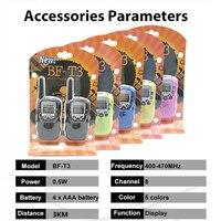 מכשיר הקשר 2pcs סיטונאות ילדים מיני ילדים UHF מכשיר הקשר BF-T3 Baofeng FRS שני הדרך רדיו Comunicador T3 Handy Talkie משדר Hf (2)