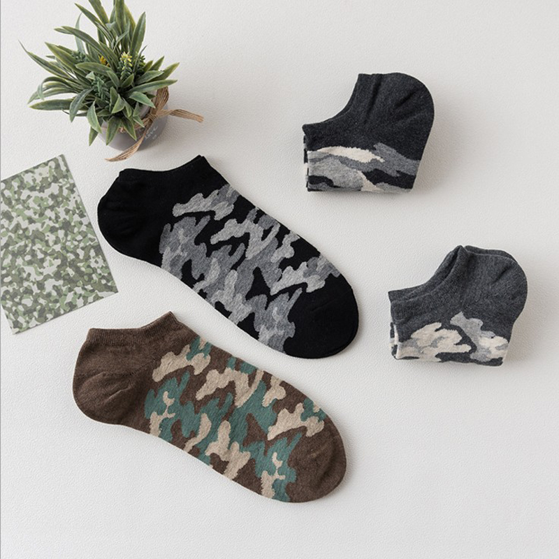 Gift Box Men Socks 4Pairs Cotton Male Sox Personality Camouflage Ship Sox Comfortable Low Cut Men Invisible Sock For Boyfriend