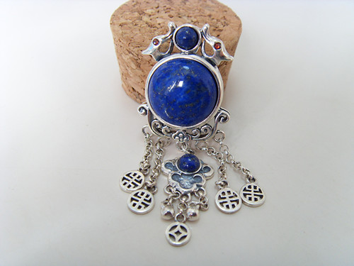 925 sterling silver jewelry inlaid natural lapis lazuli palace retro fringe female Pendant yh 925 sterling silver with natural lapis lazuli suits