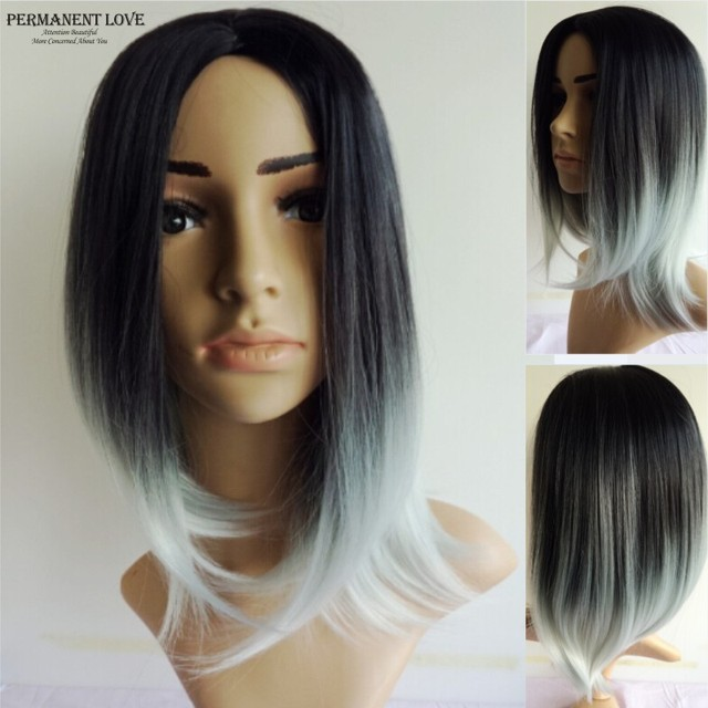Silk straight grey ombre wigs two tone natural black rooted gray Synthetic hair wigs medium length long Bobo wigs for women wigs