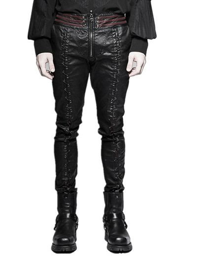 Steampunk Men Lace Up Leather Pants Gothic Vampire Bloody