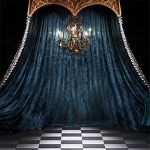 Interior de la habitación Vintage fondos para fotografía de boda impreso candelabro para velas azul cortina telón de fondo para fotomatón para estudio