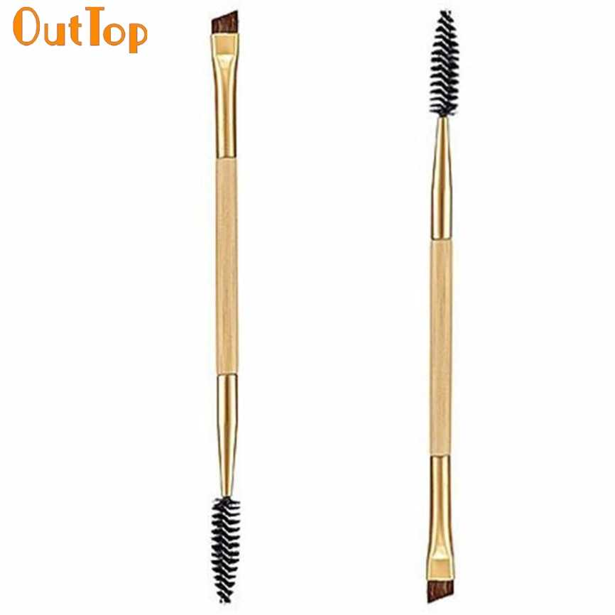 OutTop Colorwomen 1PCS Makeup Tools Bamboo Handle Double Eyebrow Brush Comb 161130 Drop Shipping