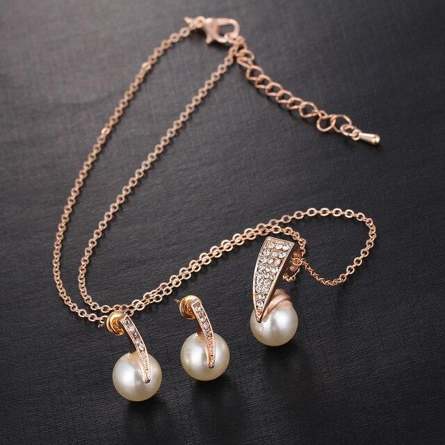 17KM Fashion Imitation Pearl Rhinestone Gold Color Necklace Sets for Women Bridal Wedding  Jewelry Sets 3