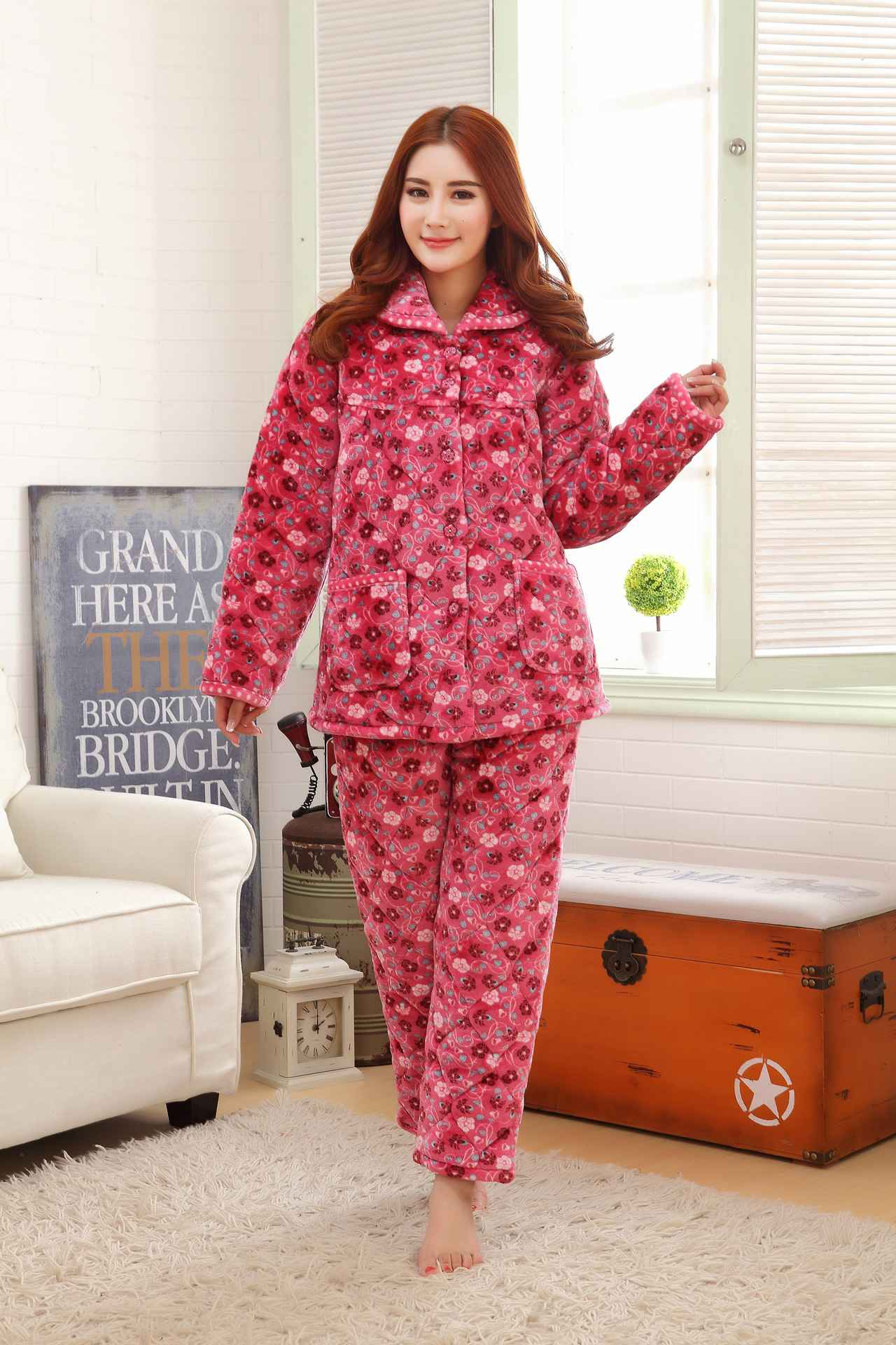 Envío gratis nuevas para mujer mayores pijamas tres gruesa felpa de ...