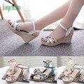 Alta qualidade Verão Cunhas das Mulheres Sandálias Flip Flops Ppen Toe Alta-Salto Alto Mulheres Sapatos 170227