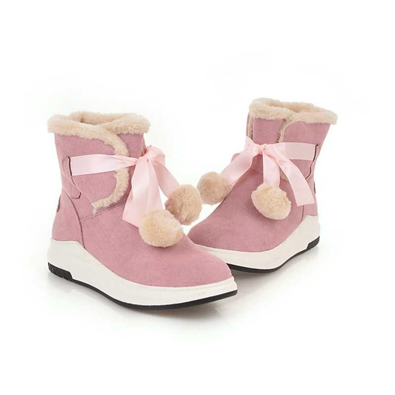 REAVE KEDI sapato feminino kadın çizmeler ayak bileği kama ayakkabı kadın med topuklu sonbahar kış kar sıcak patik sevimli chaussure A1388