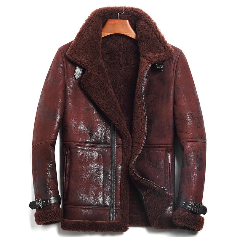 Shearling Coat Harley Damson Jacket Russian Brown Winter Genuine XXXXL Casual Thick Slim