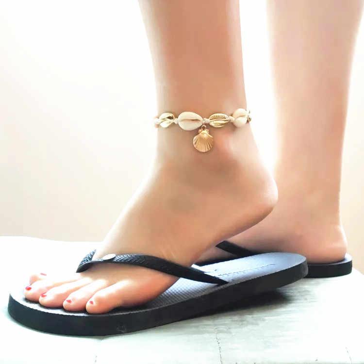 ヴィンテージゴールドカラーアンクレット女性シェルスパンコールビーズ幾何ブレスレットチャームボヘミアン足首自由奔放に生きる足の宝石類のギフト