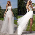 Горячая мода короткий передний долго назад scoop-образным вырезом кружева тюль белый короткое свадебное платье сексуальная с открытой спиной vestido де noiva курто