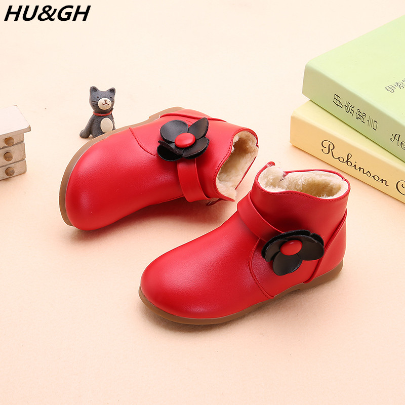 New children's boots for boys and girls snow boots, short tubs and thick leather boots in autumn and winter