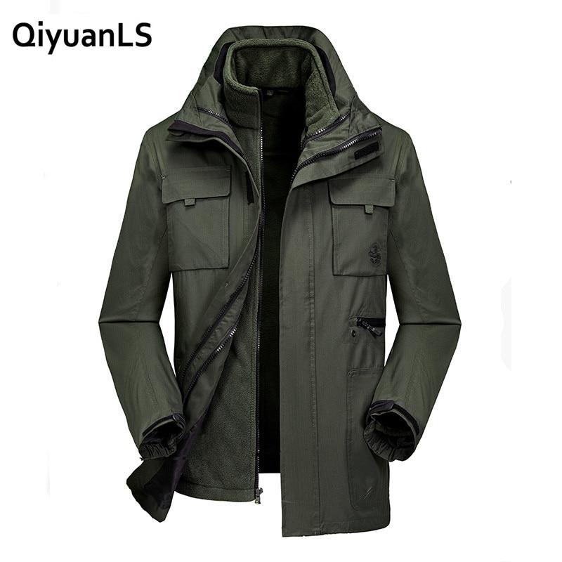 QiyuanLS Jackets Men Autumn Jacket+ Jacket Brand-Clothing Waterproof Overcoats Hooded Windbreaker Tactical Military Jacket Men