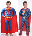 Children Muscle Superman Costume Clothes,halloween Cosplay Party Muscle Super Hero Costume with Cape for Kids 4-6 Years