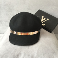 The new ms han edition of metal ring belt splicing octagonal cap hat woollen hat Europe and the United States baseball cap