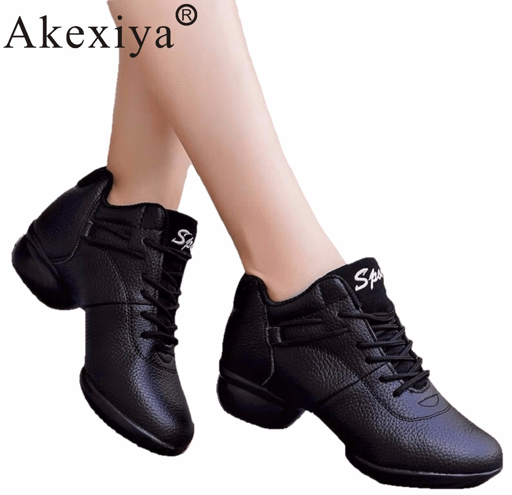 Akexiya Hot Sale Women Girls Adult Latin/Ballroom/Tango Dance Shoes Dancing Sneakers Woman PU Leather Practice Shoes Black Red