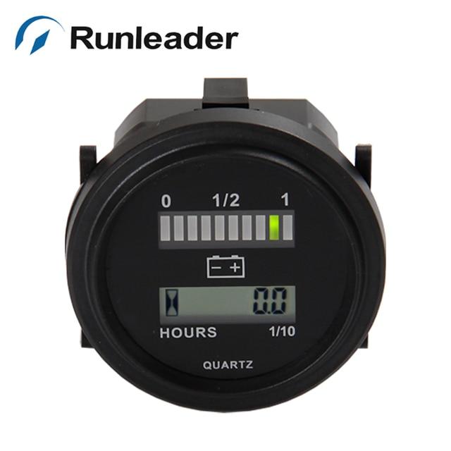 Round hour meter with led battery indicator Gauge 12V 24V 36V 48V 72V for electric golf carts tractor sweeper milk-van RL-BI004
