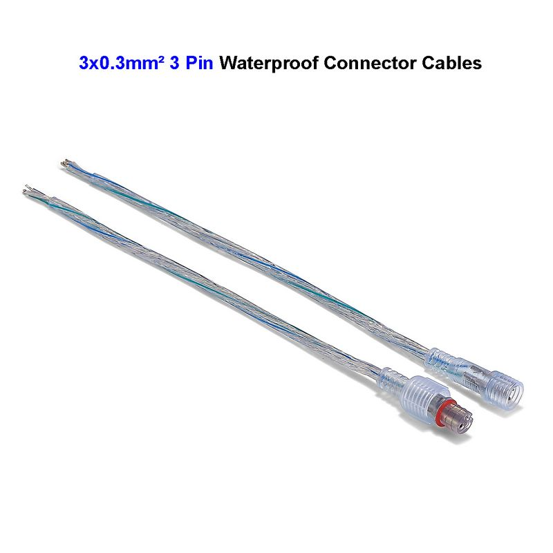 3 Pin Male Female Transparent Waterproof Connector Cable 0