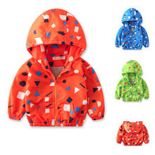 Fashion Unisex Children Baby Coat Autumn Jacket Outerwear Print Hoodie Windbreaker Cotton Clothes(China)