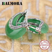 100 Real Pure 925 Sterling Silver Earrings Jewelry Elegant Yellow Chalcedony Stud Earrings For Women Free