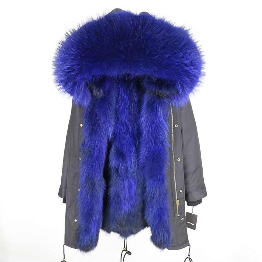 2019 Real Fur Coat Winter Jacket Women Long Parka Waterproof Big Natural Raccoon Fur Collar Hood Thick Warm Real Fox Fur Liner 139